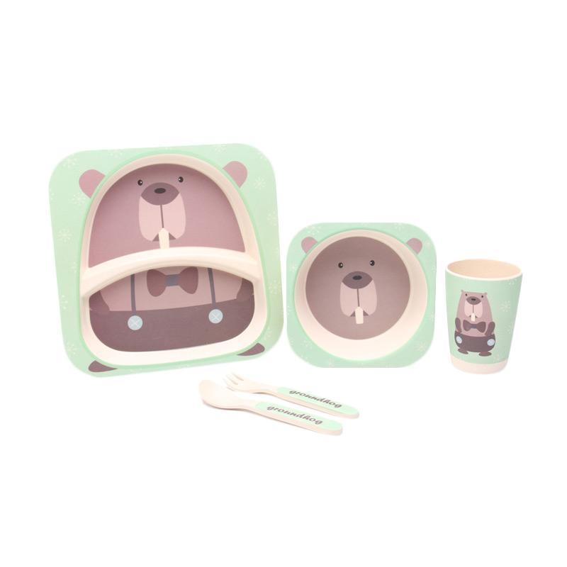 HAN AYC Bamboo Fiber Kids Set Dinnerware Peralatan Makan Anak Dari Serat Bambu Groundhog - Multicolor