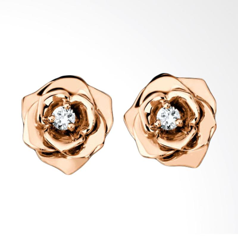 Tiaria Rose Earring With Zircon Anting [9K] - Rose Gold