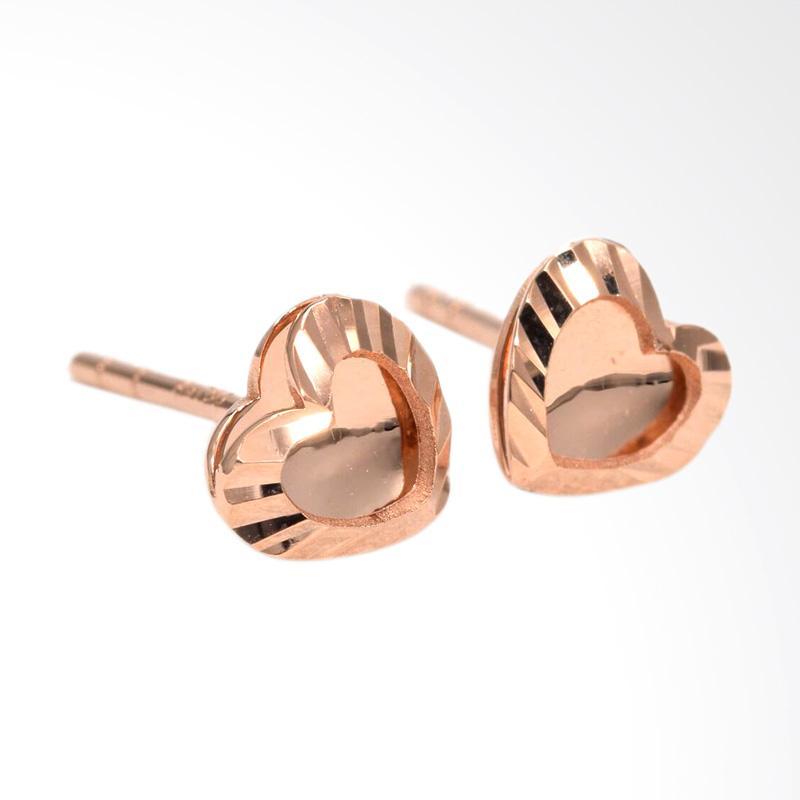 Tiaria Love D4 Earring Anting Emas Perhiasan - Rose Gold
