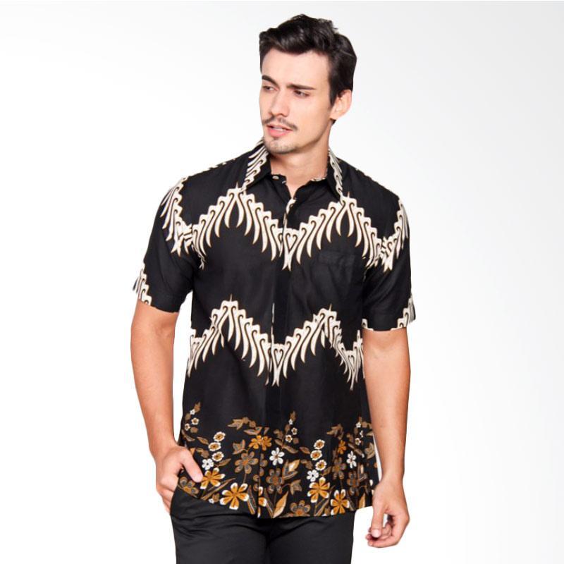 Batik Heritage Katun Bunga Zigzag Slim Fit Kemeja Pria - Hitam
