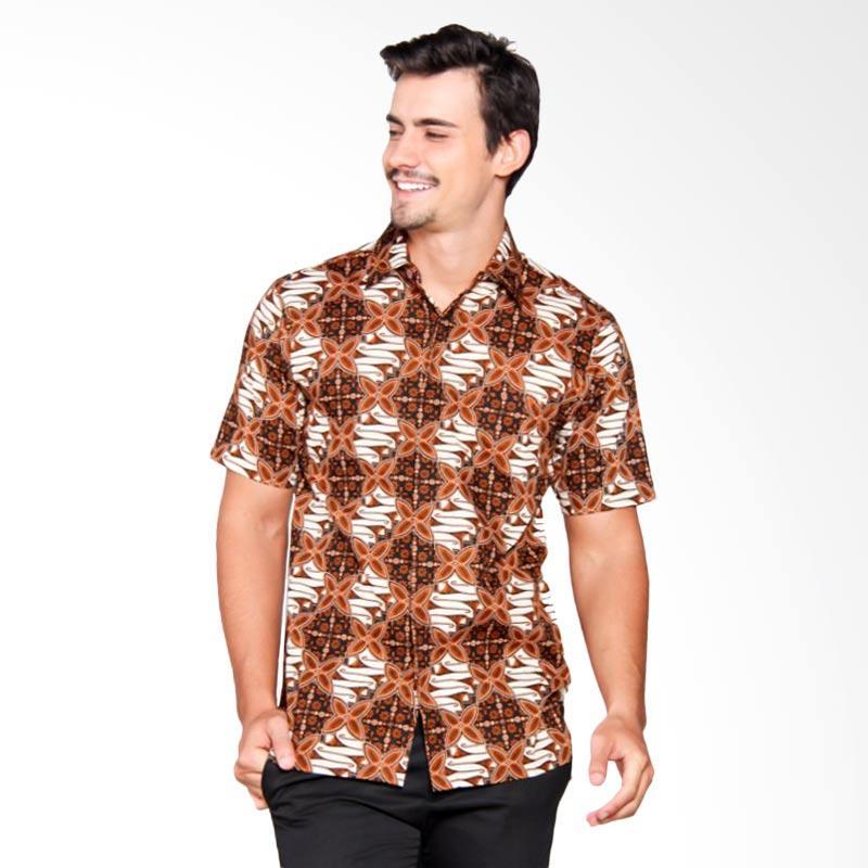 Batik Heritage Katun Star Slopes Slim Fit Atasan Pria - Cokelat