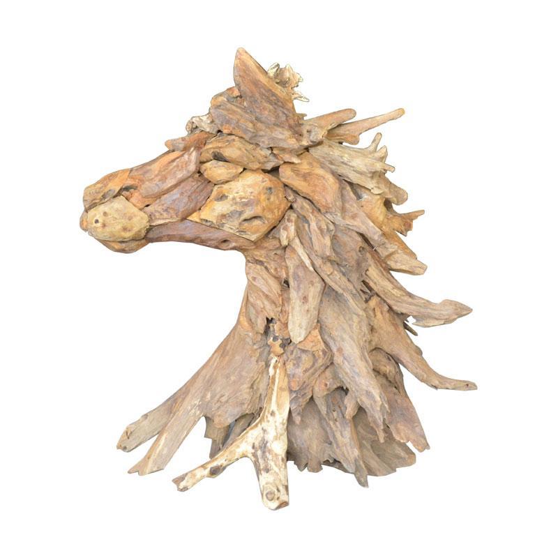 De Erniest Natura Head Horse Decor Hiasan Rumah - Natural