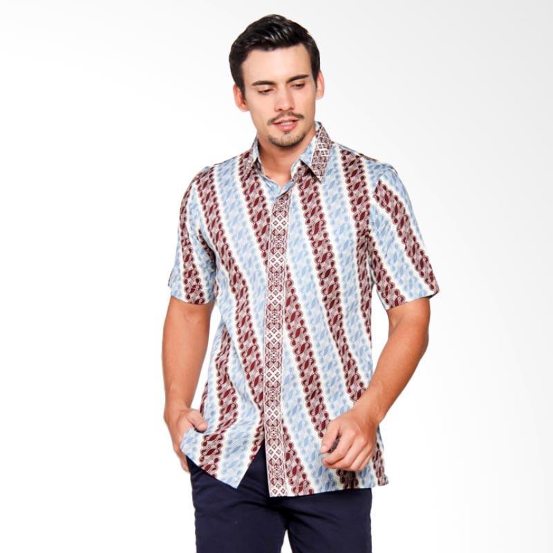 Batik Heritage Katun Lereng Slim Fit Batik Pria - Biru Maroon
