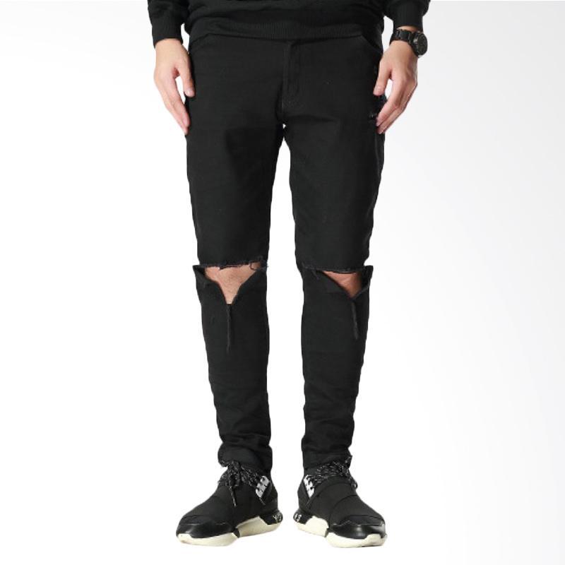Underpego Celana Jeans Skinny Celana Pria - Hitam