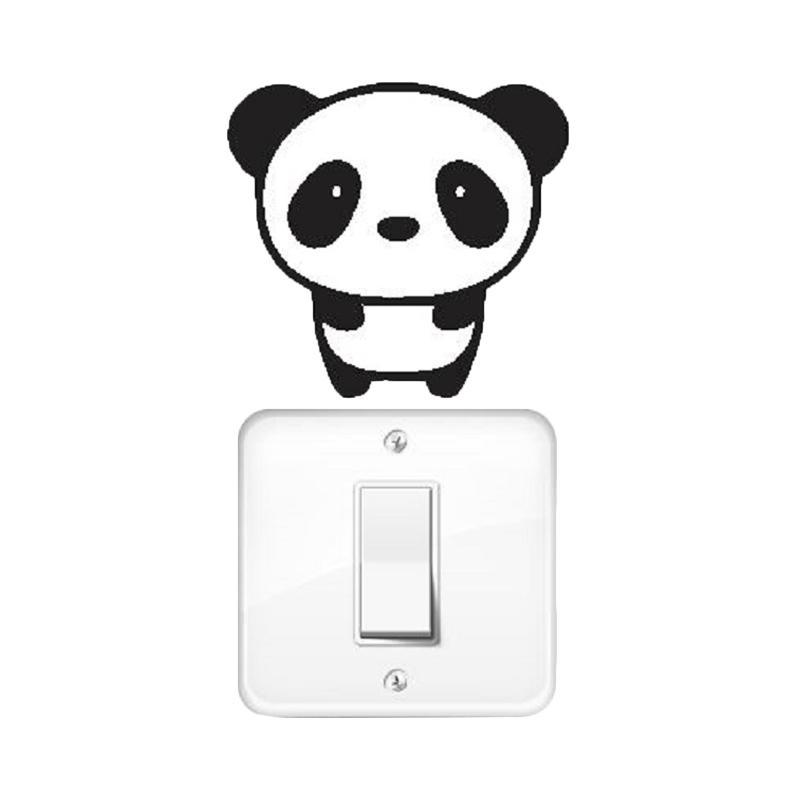 OEM Motif Panda Dekorasi Tombol Lampu Saklar Wall Sticker - Hitam