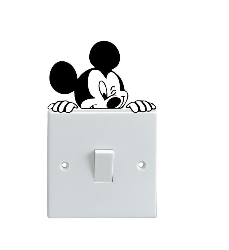 OEM Motif Mickey Mouse Intip Lucu Dekorasi Tombol Lampu Saklar Wall Sticker - Hitam