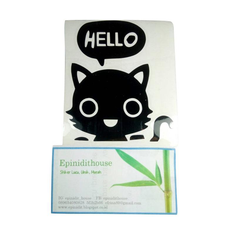 OEM Stiker Motif Kucing Hello Lucu Decal Lampu Saklar Wall Sticker - Black