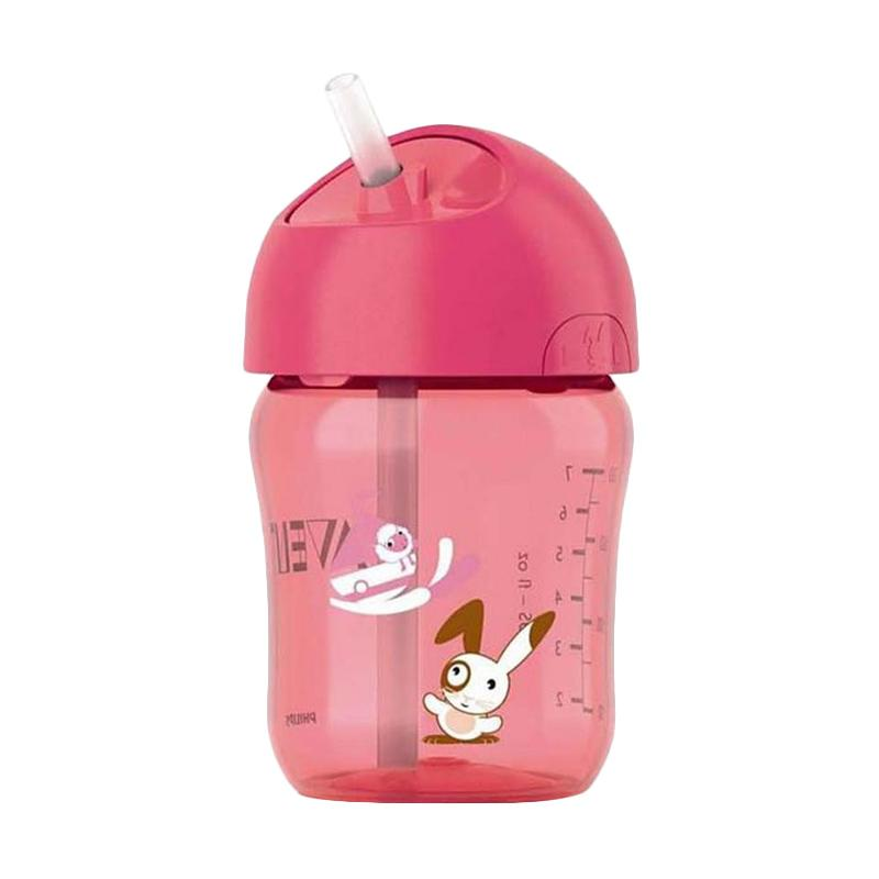 Philips Avent Soft Silicone Straw Bottle Minum Anak - Pink [12m+/ 260 mL]