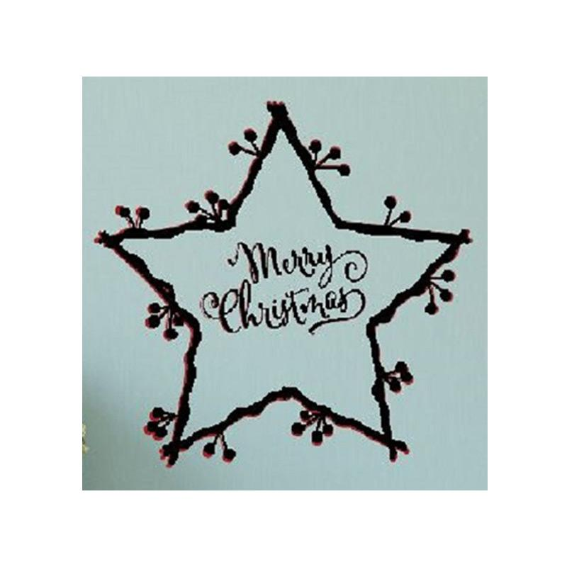 OEM Merry Christmas Star Wall Sticker Dekorasi Dinding