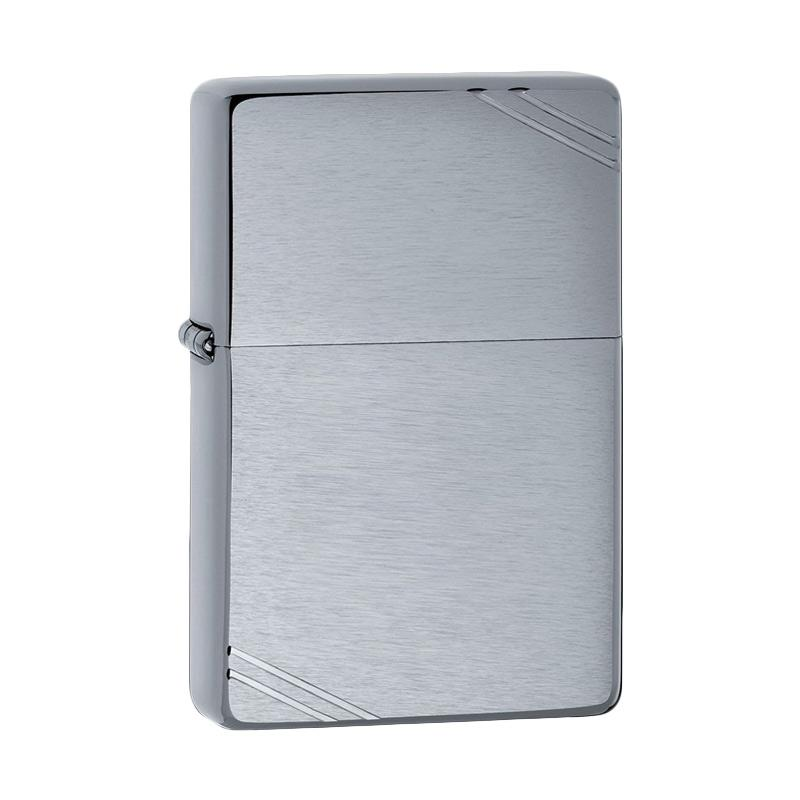 Zippo Brushed Chrome Vintage Lighter with Slashes - Silver
