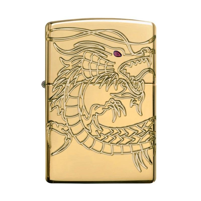 Zippo Chinese Dragon Armor High Polish Plate Pocket Lighter - Gold