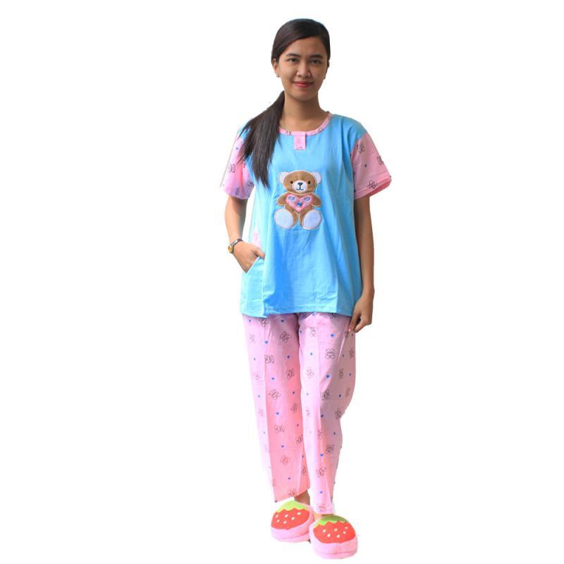 Aily Bear 453 Setelan Baju Tidur Wanita - Biru