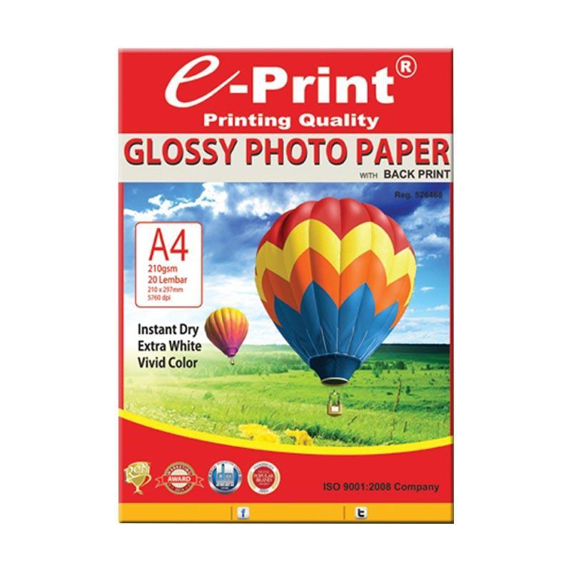 E-Print Glossy Back Print Photo Paper A4 Bundling 4Pcs [80 Sheet/210gsm]