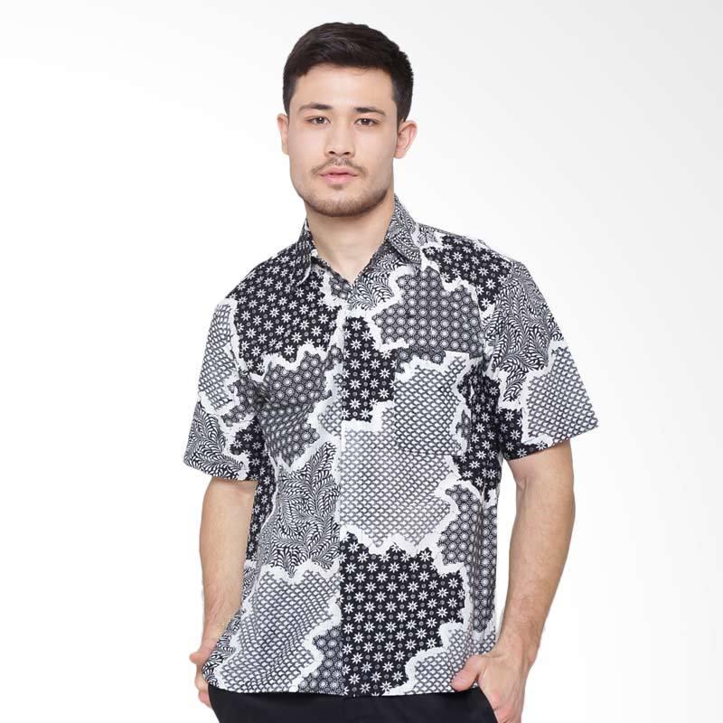 Jening Batik Jening Short Sleeve Kemeja Pria - White Black RAFA-001