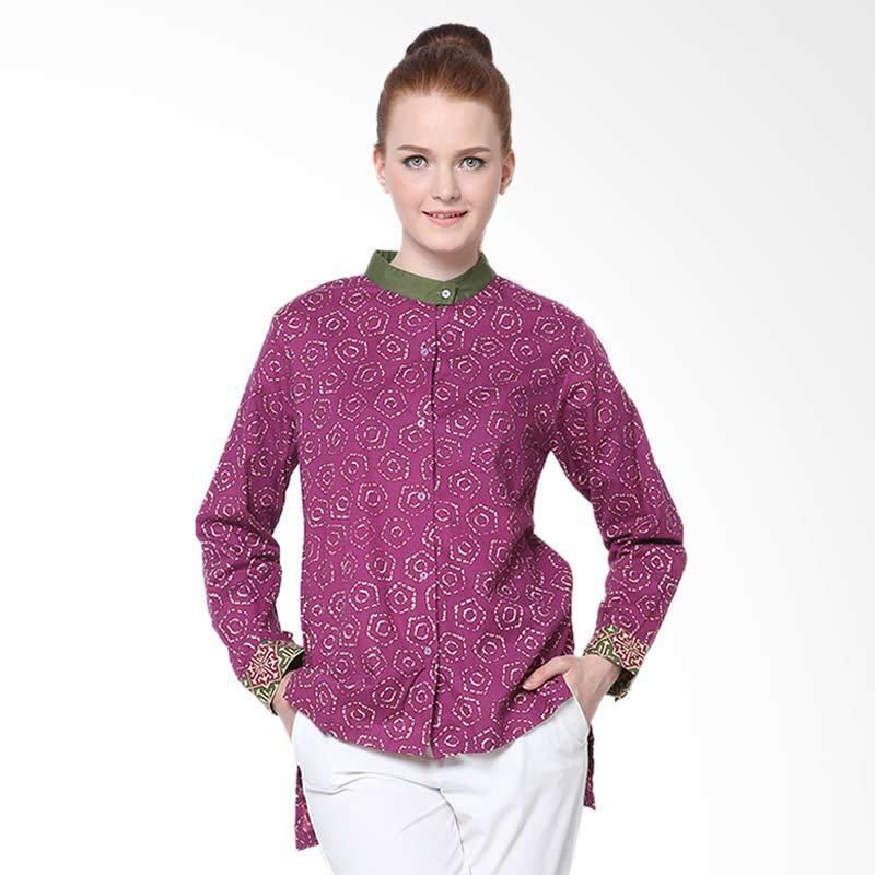 Days by Danarhadi Women Jumput Segi Warna Eggplant Slit Long Sleeves Shirt Kemeja Batik Wanita - Pink