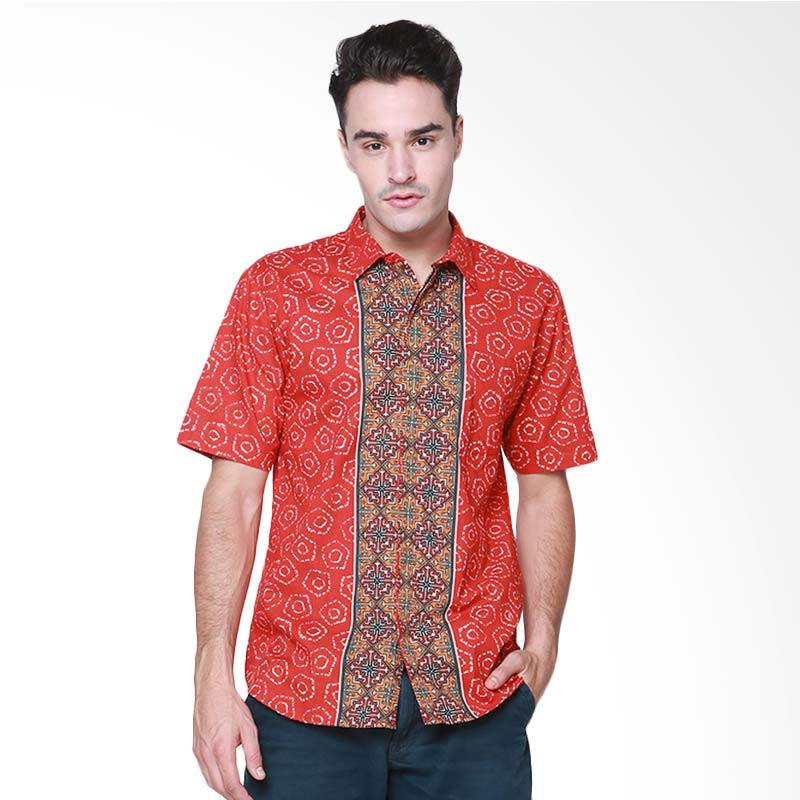 Days by Danarhadi Men Jumput Segi Hem Accent Men's Shirt Batik Pria - Red