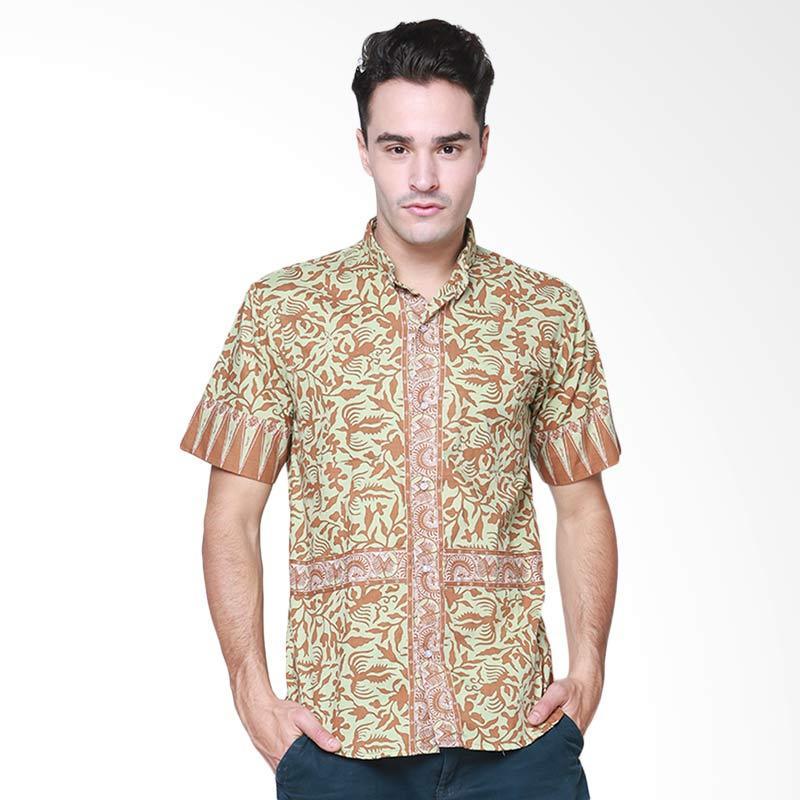 Days by Danarhadi Men Lung Segoro Pale Vertical Baju Batik Pria - Green