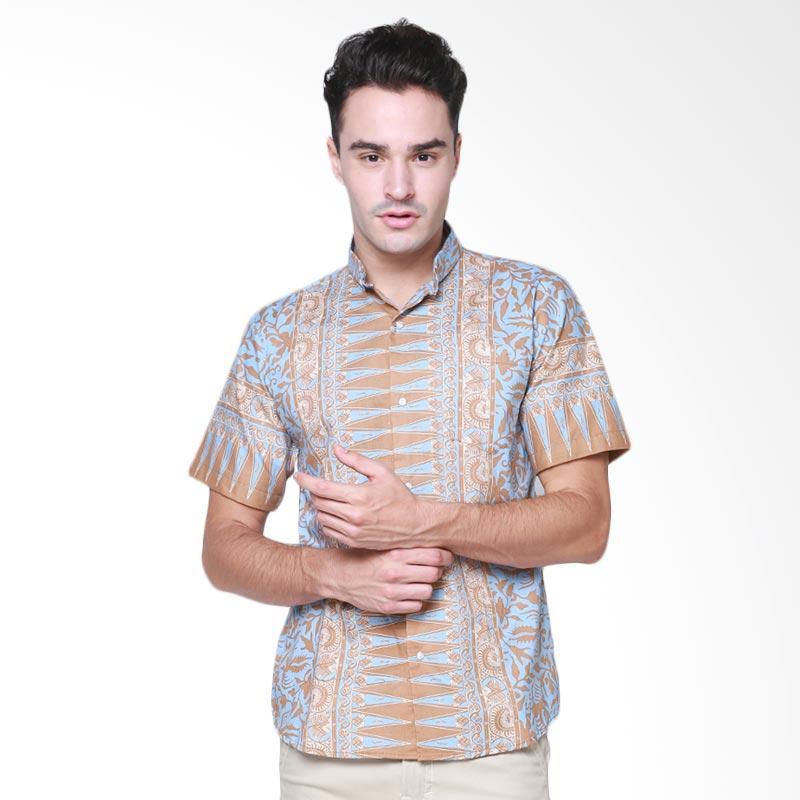 Days by Danarhadi Men Lung Segoro Dusty Horizontal Baju Batik Pria - Blue