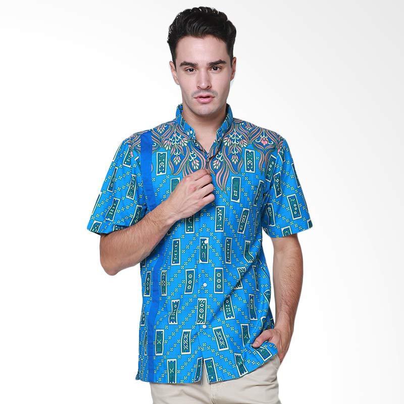 Days by Danarhadi Men Kerton Sinebar Neck Details Menshirt Batik Pria - Blue