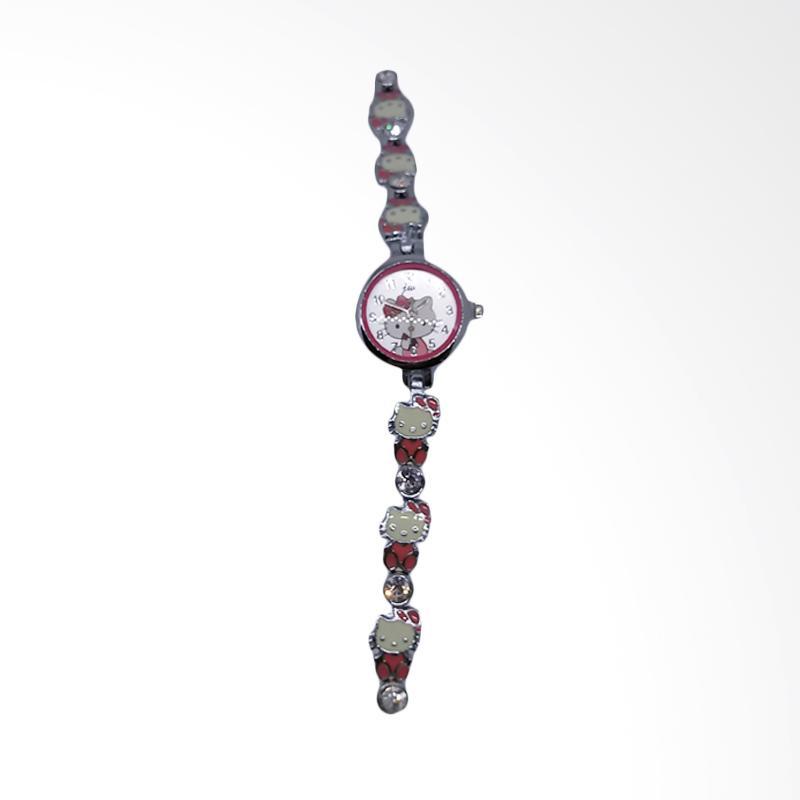 Hello Kitty Rantai Cute Hat HK Stainless Steel Jam Tangan Wanita - White Pink