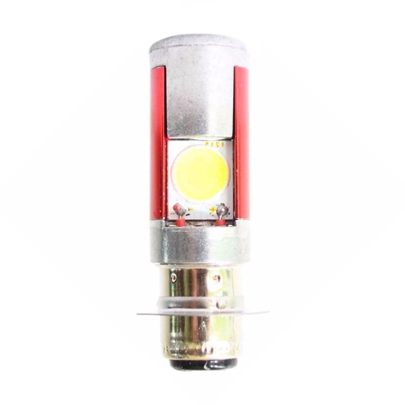 Raja Motor H6 LED (DC) Putih Lampu Depan Motor LED 2 Sisi - Merah Silver [DOH8019-CoverMerah-Silver-NyalaPutih]