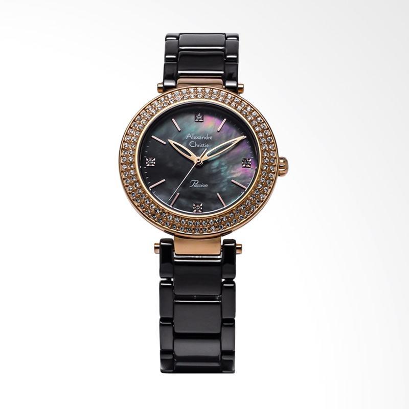 Alexandre Christie ACF-2323-LHBRGMA Ladies Mother of Pearl Dial Stainless Steel Jam Tangan Wanita - Black