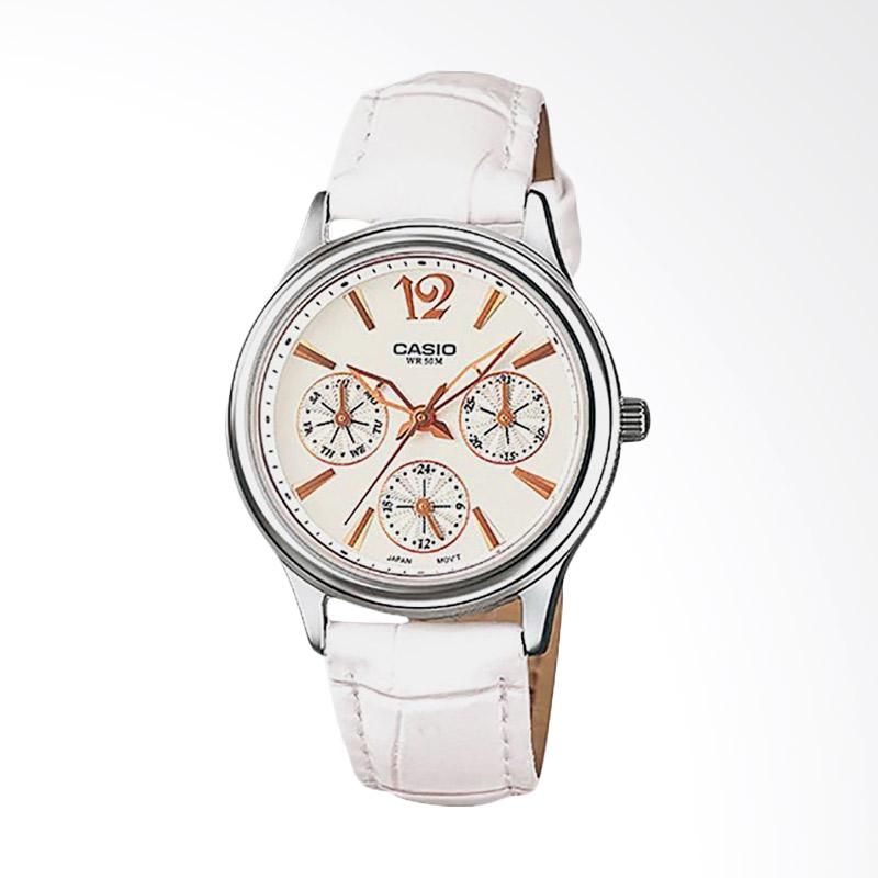 CASIO Casio LTP 2085L 7AVDF Enticer Ladies White Dial Ion Plated Leather Strap .
