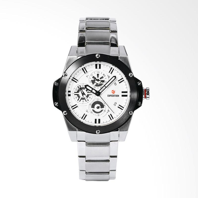 Expedition EXF-6696-BFBTBSL Sport White Dial Stainless Steel Watch Jam Tangan Unisex - Silver