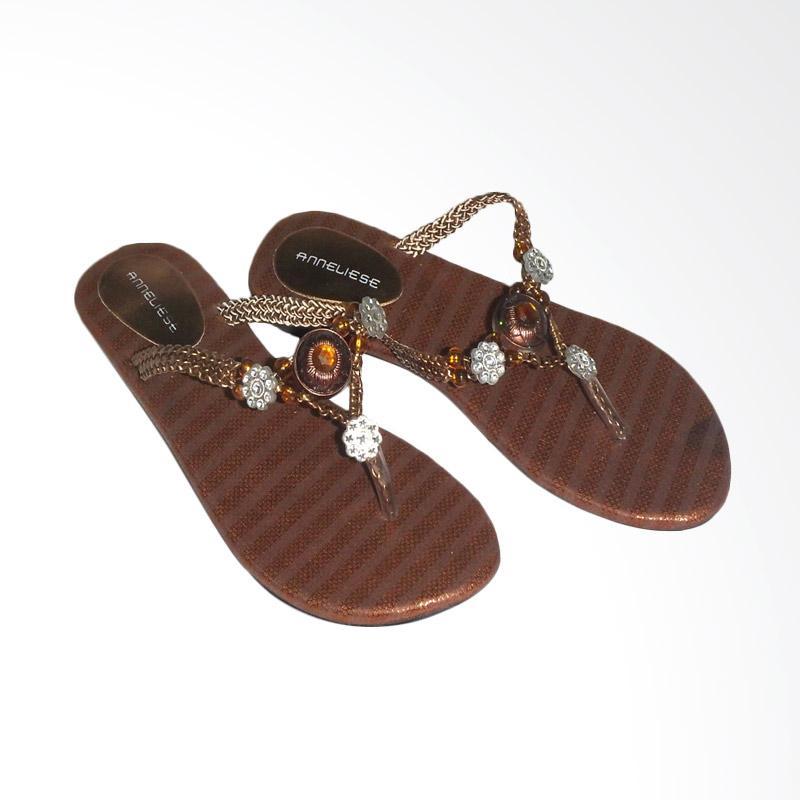 Anneliese Poppy Copper Sandal Flat Wanita - Coklat