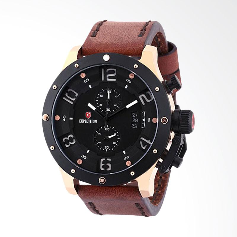 Expedition Man Black Dial Brown Leather Strap Jam Tangan Pria - Brown EXF-6381-MCLBRBA
