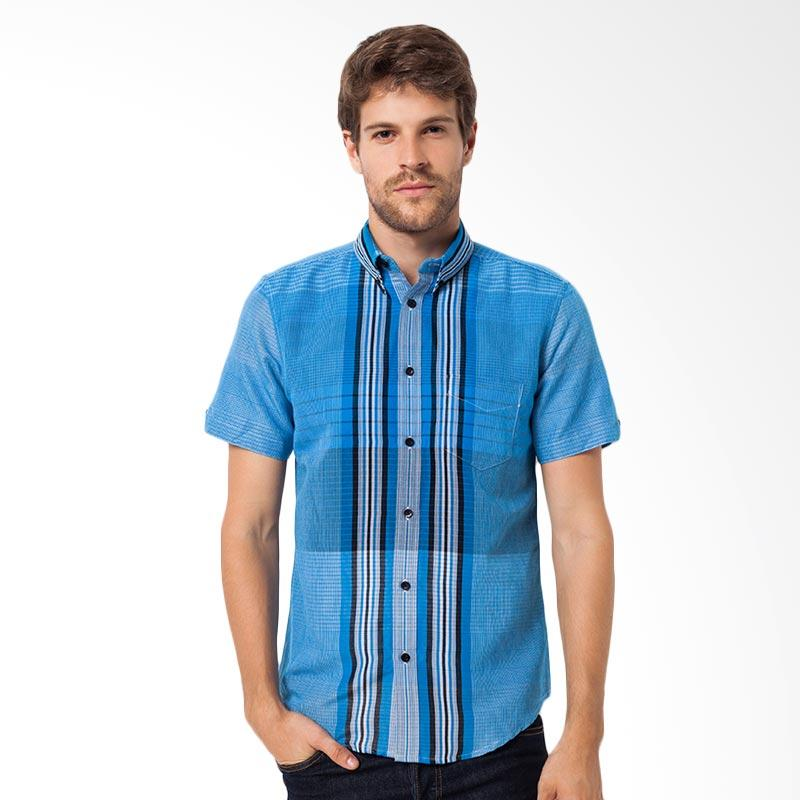 A&D Fashion Mens Shirt Short Sleeve Atasan Pria - Blue MS 706B