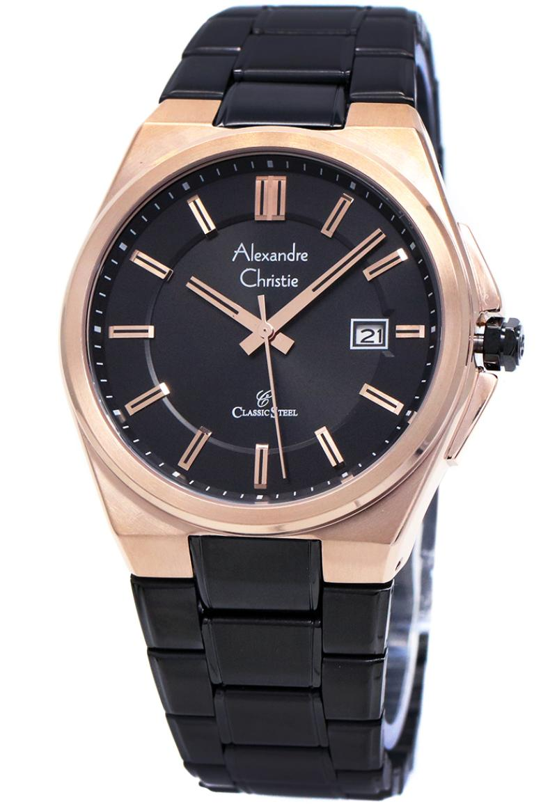 Jual Jam Original Alexandre Christie Classic Tangan 01 Strap Stainless Steel Pria Hitam Rosegold 8506