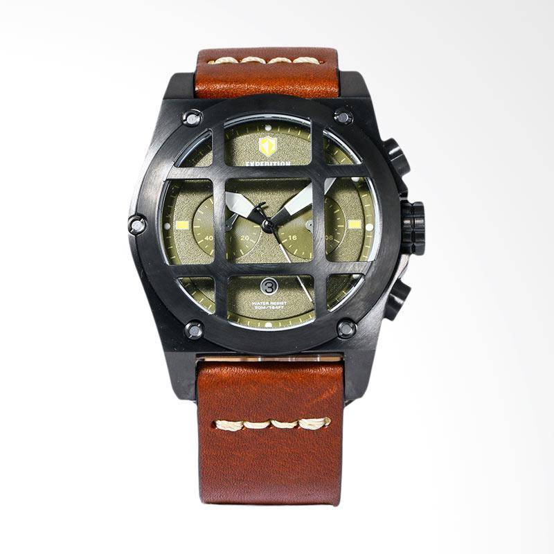 Expedition Man Chronograph Green Dial Brown Leather Strap Jam Tangan Pria - Brown EXF-6692-MCLIPBA