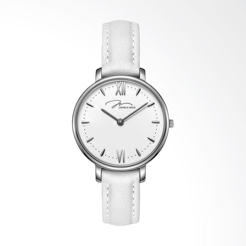 Jonas Verus X00752-Q3.WWWLW Quartz Watch Minimalist Leather Strap Jam Tangan Wanita - White