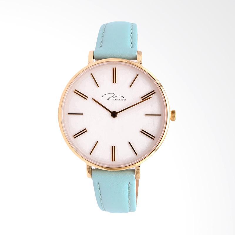 Jonas Verus X01855-Q3.GGWLL Minimalist Leather Strap Ladies Quartz Watch Jam Tangan Wanita - Blue
