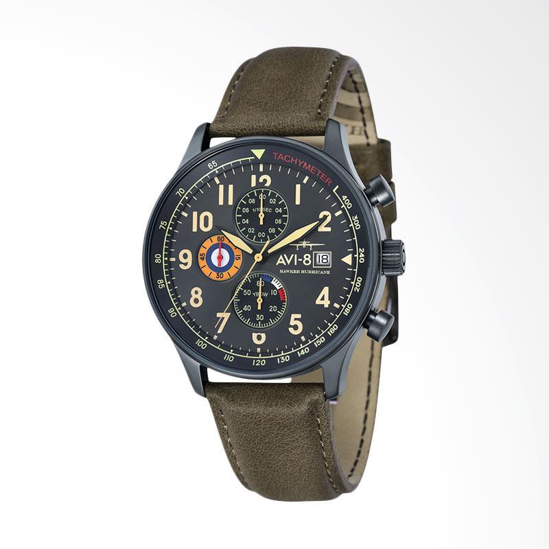 AVI-8 AV-4011-0E Man Hawker Hurricane Watch Leather Strap Jam Tangan Wanita - Green