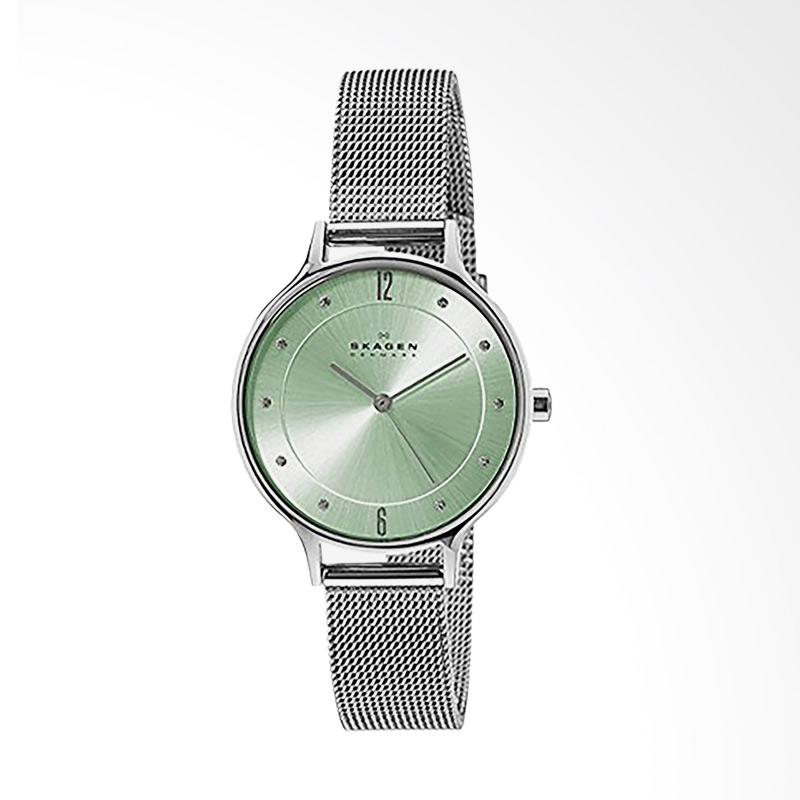 Skagen SKW2324 Anita Light Green Sunray Dial Stainless Steel Mesh Bracelet Jam Tangan Wanita - Silver