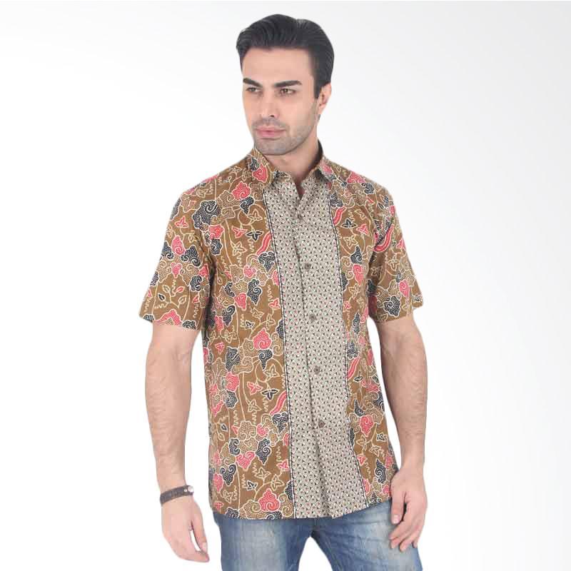 Batik Heritage Katun Mega Mendung Keong Kemeja Pria - Cokelat