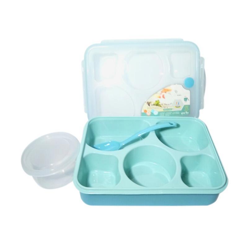 GCC Yooyee Bento 5 Sekat Kotak Makan dan Tempat Sup - Blue
