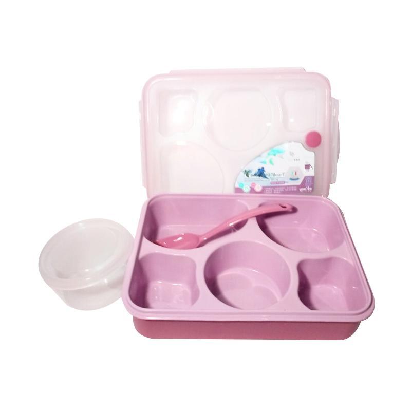 GCC Yooyee Bento 5 Sekat Kotak Makan dan Tempat Sup -  Pink Peach