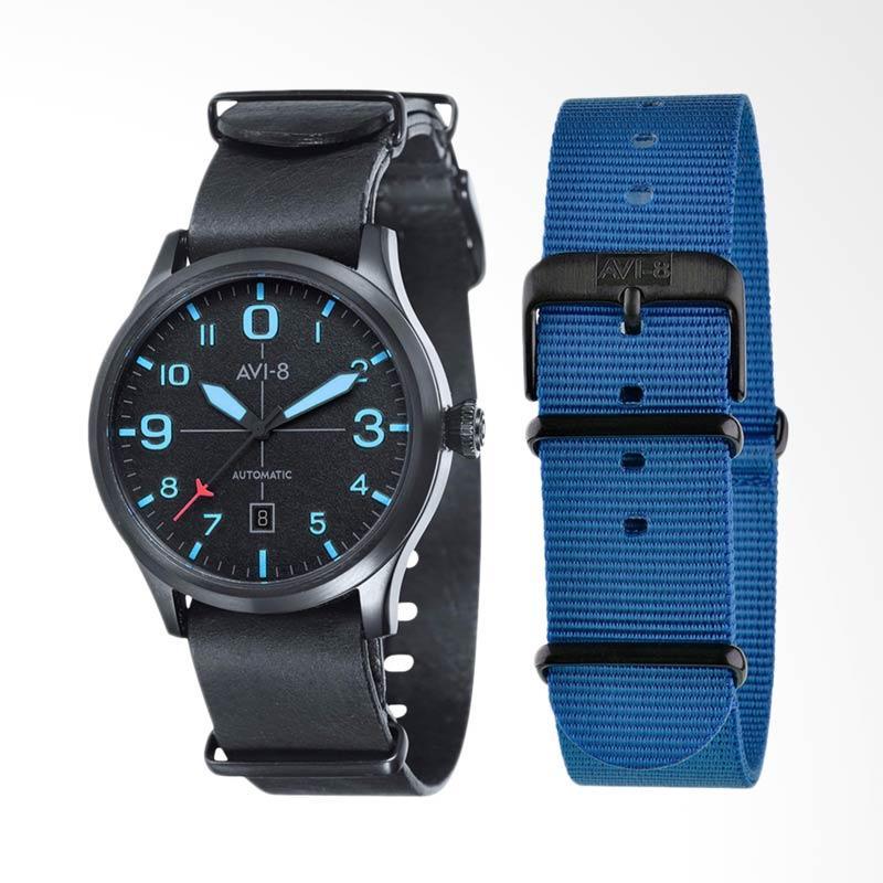 AVI-8 Man Flyboy Automatic Watch Leather Strap Jam Tangan Pria - Black AV-4021-0D