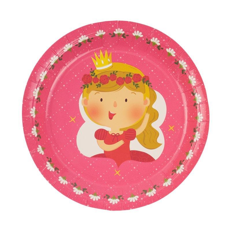 Wola Fiona The Royal Princess Paper Plates Dekorasi Pesta - Pink [25 pcs]
