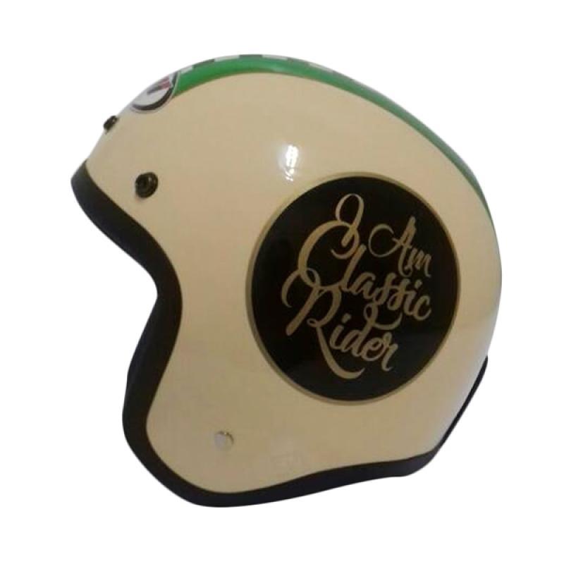 THI Helmets Classic Grafis Helm Half Face - Coklat Susu