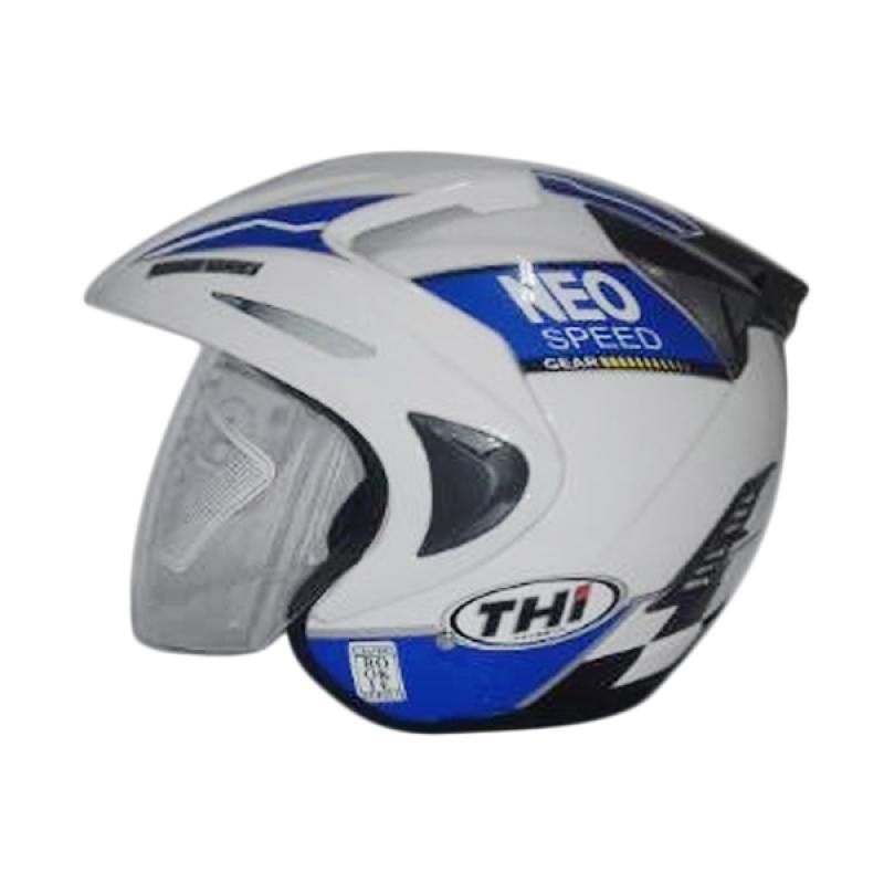 THI Helmets Rookie Grafis Neo Helm Half Face - Biru Putih