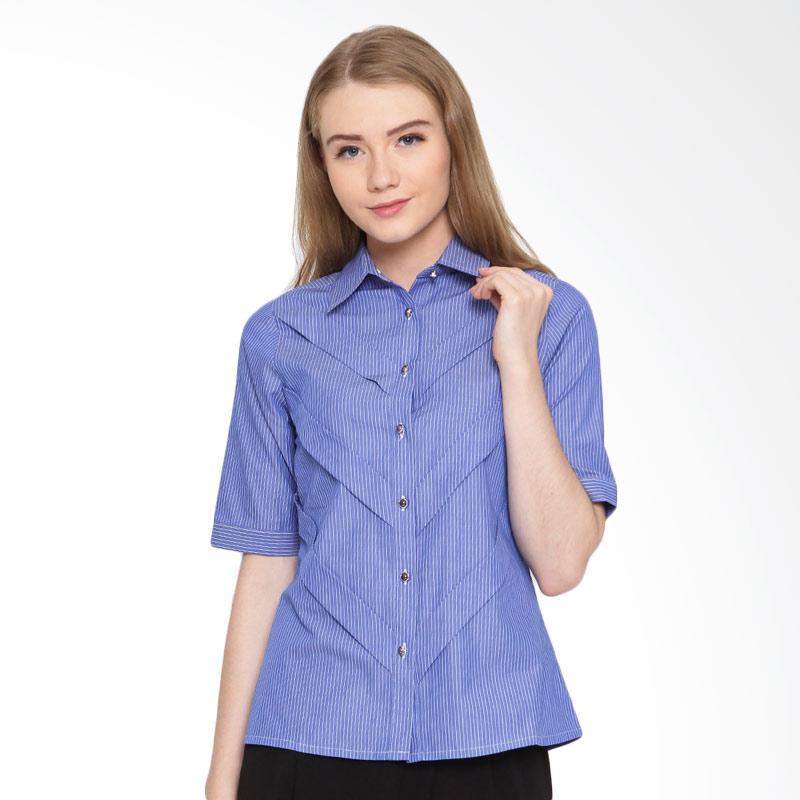A&D Fashion Ms 866 Ladeis Shirt Short Sleeve Atasan Wanita - Blue