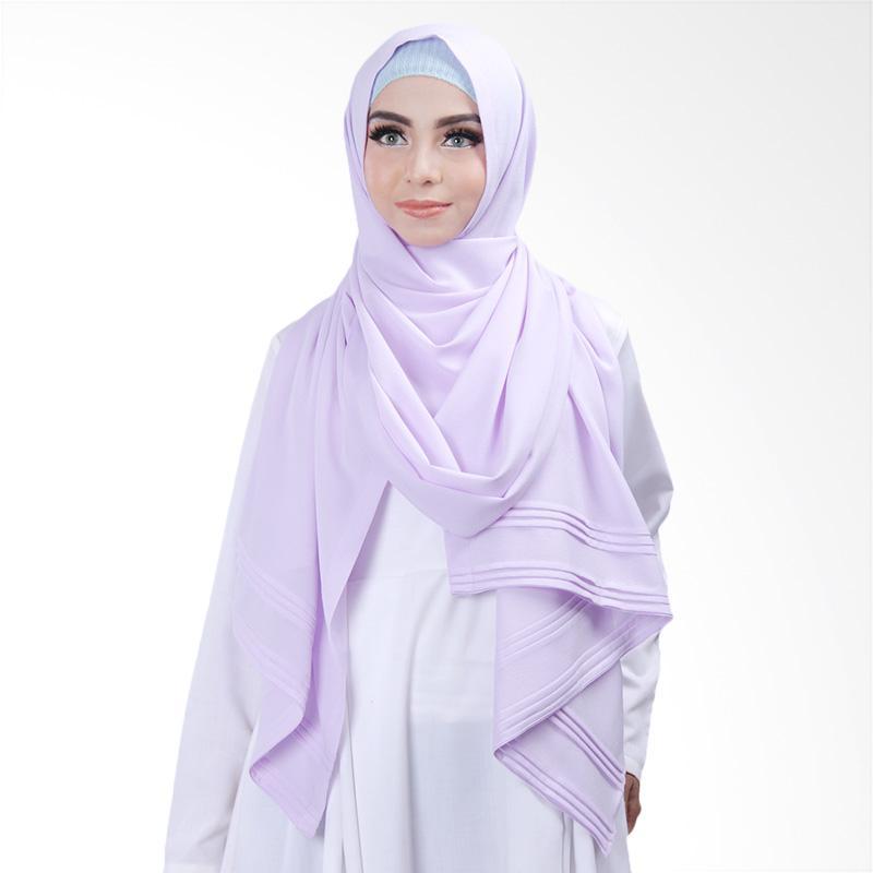 Cantik Kerudung Khloe Pleated Shawl Jilbab Instant - Soft Purle No.15