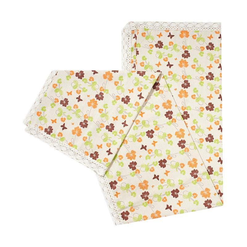 Tren-D-Home Table Cloth Katun Polyester - Hijau Orange [150 x 180 cm]
