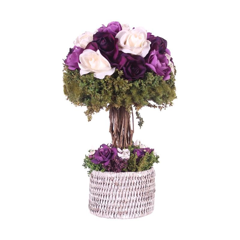 Thema Home 1302 A French Rose In Rattan Planter Bunga Artificial - Purple