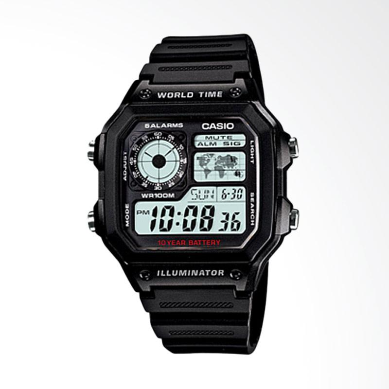 Casio Illuminator Digital Youth Series Tali Resin Jam Tangan Pria [AE-1200WH-1AVDF]