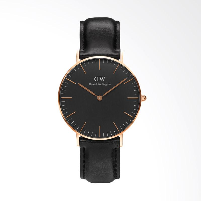 Daniel Wellington Classic Black Sheffield Strap Kulit Jam Tangan Wanita - Rose Gold [36mm]